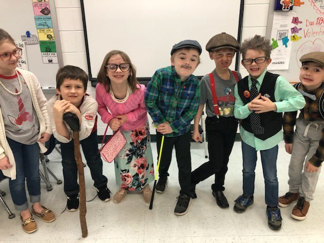 Group of students dressed up for 100 days of school